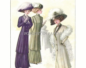 Victorian Morphs Into Edwardian - HAND TINTED Full Color Print  from  1909 McCall's Magazine - 2-Fer - Another Print on Back