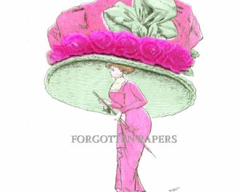 FRENCH FANTASY MILLINERY - Wonderful Whimsical Illustrated Postcard - Huge Hot Pink Hat with Real Velvet Roses
