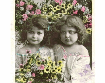 ON SALE - Charming Little French Girls - SISTERS  - Pastel Hand Tinted Real Photo Vintage 1910's Postcard by Stebbing, PaRIS