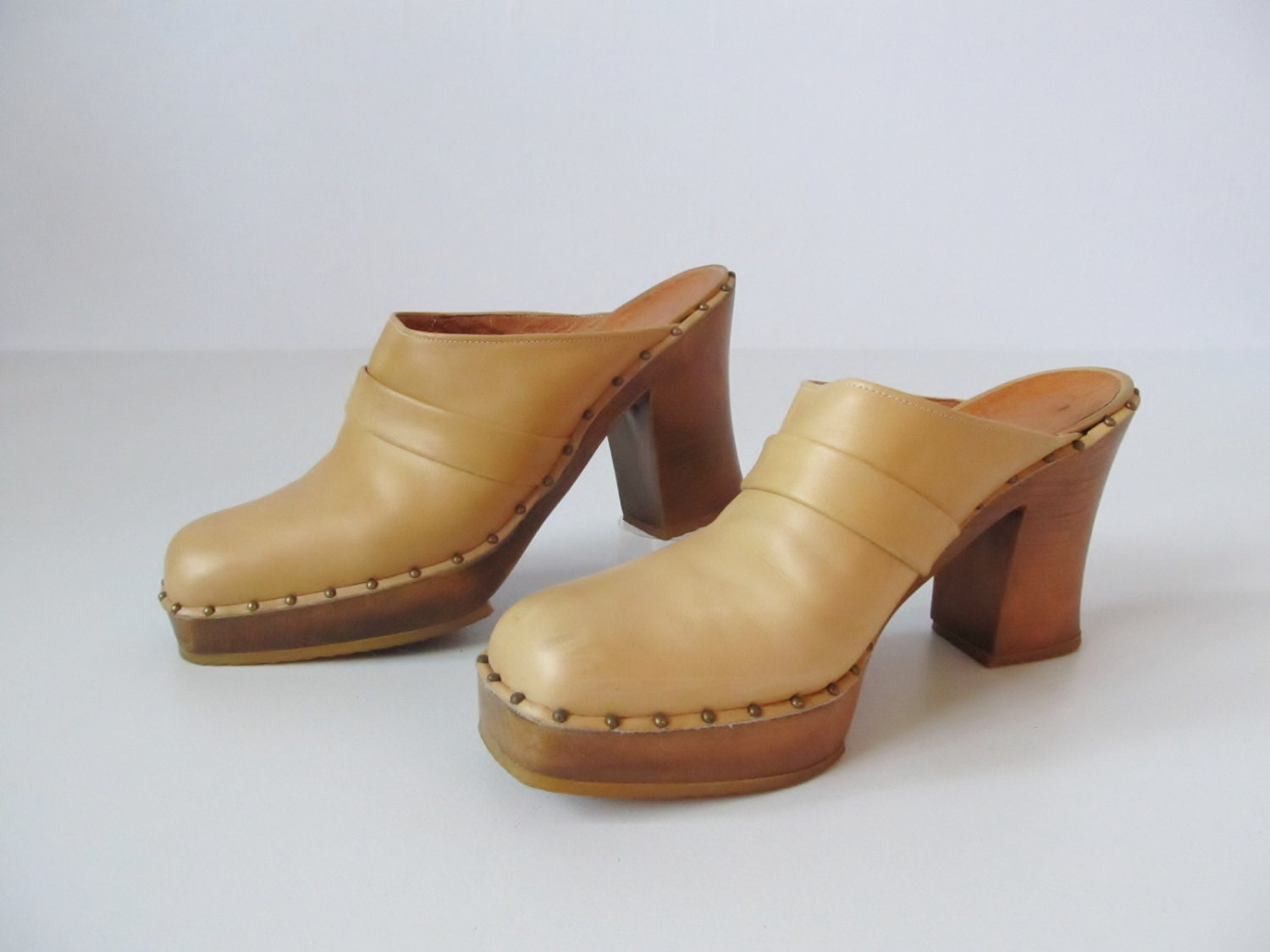 clogs high heel mules vintage 1970s by thevintagemistress