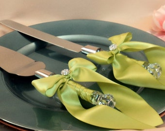 Elite Satin Cake Server Set with Rhinestone Accent ..You Choose The Bow Colors..shown in bright sage green