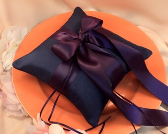 Romantic Satin Ring Bearer Pillow...You Choose the Colors...Buy One Get One Half Off...shown in navy blue midnight/eggplant deep purple