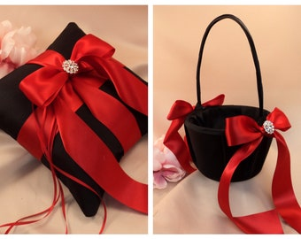 Custom Colors Satin Elite Ring Bearer Pillow and Flower Girl Basket Set...You Choose the Colors...shown in black/red