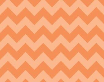 SUMMER SALE - Medium Chevron Stripe in Tonal Orange - sku C380 61 - by Riley Blake Designs - 1 Yard