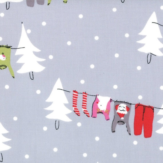 Cherry Christmas - Washing Line in Gray - SKU 18530 16 - by Aneela Hoey for Moda Fabric - 1 Yard
