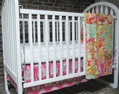 Baby Bedding, 2-piece, Minky Dot crib quilt, and skirt, Soul Blossoms Passion, Girl, Granny Chic, PLUSH for baby