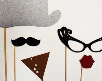 Photo Booth Props.  Wedding Photo Booth prop . New Year's Eve Party.  Wedding Party New Year's Eve Photobooth Prop Set