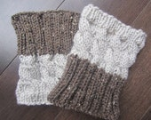 2 IN 1 -  REVERSIBLE Hand Knitted Boot Cuffs - 2 Colors, 2 Patterns - No Seam Line