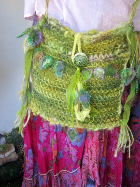 shoulder bag rustic wool handknit bag - lady of forest leaf and groves