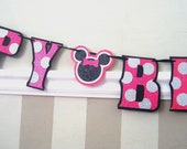 Minnie HAPPY BIRTHDAY Banner - Hot Pink Glitter with Silouette Spacer