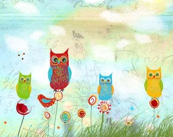 Owl Land- owl illustration print or note card