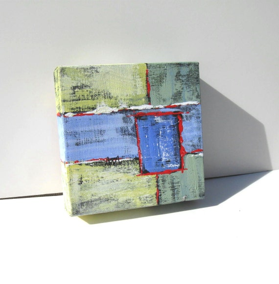 "Small Abstract  Painting Modern Contemporary Artwork ""B Square"""
