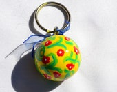 Key Fob Yellow w/ Red Flowers