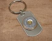 Shotgun Casing Jewelry - Gift for Man - Genuine Silver Remington 12 Gauge Shotgun Shell Stainless Dog Tag Key Chain