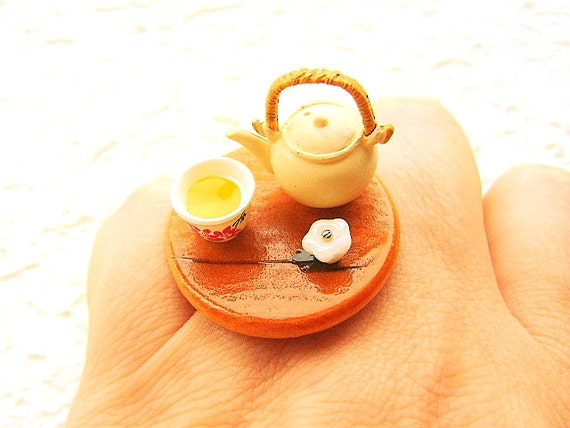 Green Tea Ring Miniature Food Ring   White  Flower  Traditional Japanee