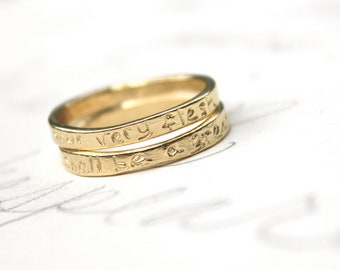 gold wedding band ring set . romantic wedding ring set . and your very flesh whitman quote wedding set . 14k recycled gold stacking rings