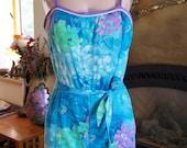 Vintage Swim suit, Floral Swim suit, 60s bathing suit, Blue Romper, 60s swim suit,  De Weiss suit,  Blue play suit, size M