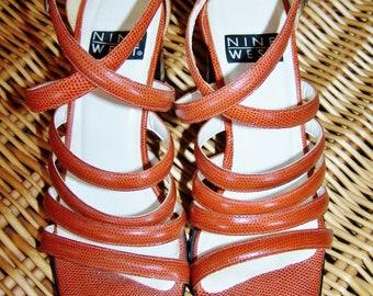 SALE, Strappy Heels, Nine West, Leather heels, Rust Brown sandal, size 8.5 M