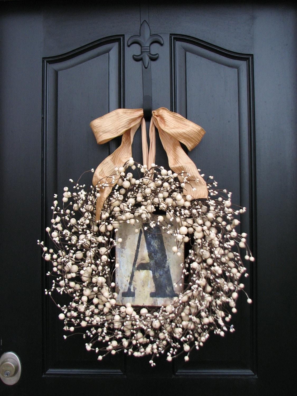 Wreaths Monogram Wreath Spring Wreath For Door Personalized