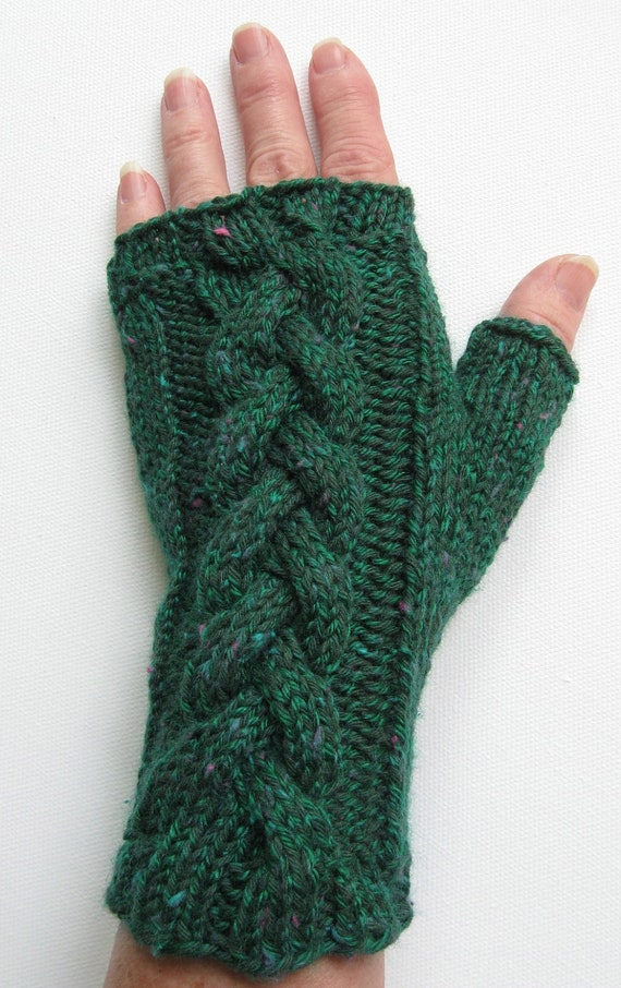 Cotton Fingerless Gloves for Women, Handknit Gloves for Ladies, Teen Girls, green tweed, cable pattern, gift for women and girls