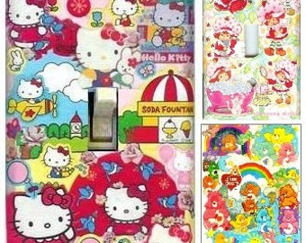 Original Hello Kitty, Care Bears, Strawberry Shortcake, Betty Boop, Snoopy Collaged Switchplates- Old School Cartoons Upcycled Art OOAK Gift