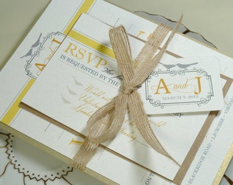 Modern Yellow and Grey Love Birds Rustic Elegant Invitation Set