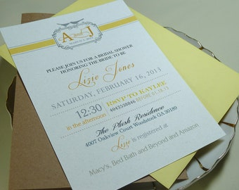 Modern Yellow and Grey Love Birds Rustic Elegant Bridal Shower Invitation