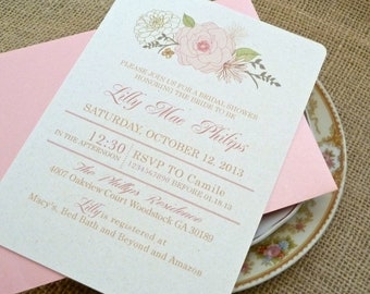 Pink Champagne Blush English Rose Wedding Bridal Shower Invitation