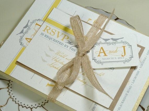 Modern Yellow and Grey Love Birds Rustic Elegant Invitation Set