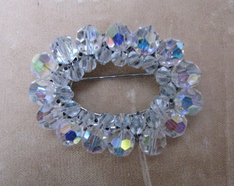 Faceted Clear Crystal Oval Pin