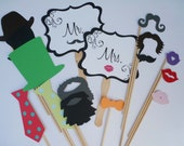 Wedding Photo Props for Photo Booth - Photo Booth Props- Party Props-Set of 16