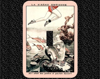 Light Switch Plate Cover- The Envious Siren/ La Siréne Envienuse/ Vintage French Artwork