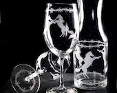 Western Wedding Wine Glass Carafe Set, Cowboy Wedding