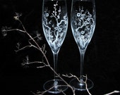 2 Cherry Blossom Champagne Flutes, DC wedding, Quincenera Toasting Flutes, Present for Couple