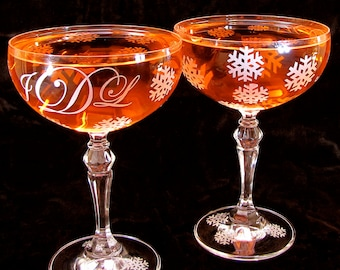 2 Snowflake Wedding Champagne Saucers, Monogrammed Champagne Coupes, Toasting Goblets