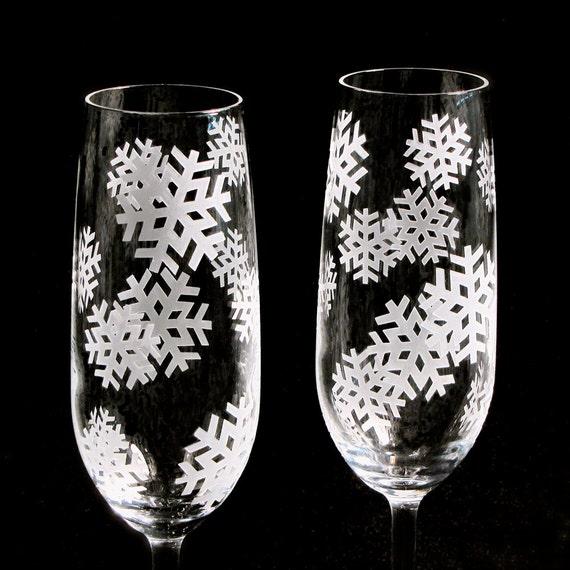 2 Winter Wedding Champagne Flutes, Crystal Wedding Flutes, Snowflake Wedding