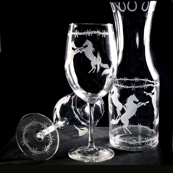 Western Wedding Wine Glass Carafe Set, Just Hitched Cowboy Wedding Present for Couple
