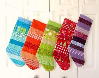 Set of 5 Patchwork Stockings -- Blue, Orange, Green, Red, Purple