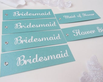 Rectangular Hand Stamped and Embossed Bridal Tags for Wedding- Turquoise and White-Set of 6
