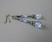 Light Blue Crackle Glass Sterling Silver Earrings