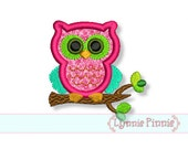 SMALL OWL on a Branch Applique 4x4 Machine Embroidery Design  Doll  INSTANT Download