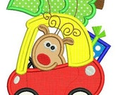 CHRISTMAS Reindeer in COUPE Car Applique 4x4 5x7 6x10 Machine Embroidery Design boy girl  Tree  INSTANT Download