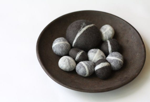 Felted Pebble Gift Set in Gray tones