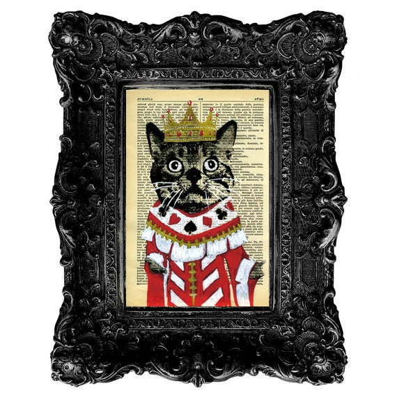 Cat Illustration Drawing Print Mixed Media Painting poster art Pet Funny