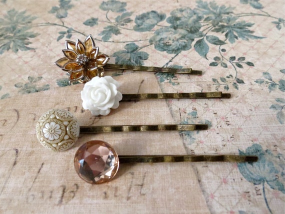 Neutral Tan & White Floral and Ornate Glass Bridal Hairpins / Bobbypins