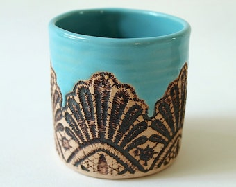 Handmade Moroccan Lace Tumbler in Turquoise