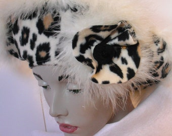 BERET in Black and Cream Leopard print Fleece with Feather trim, brooch