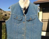 Vintage Shearling-lined Denim Vest