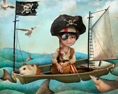 "ACEO ATC - "" Diego"" - Little Pirate Boy and his Guinea Pig - Mini Giclee Art Print 2.5x3.5"" - Artwork by Jessica Grundy"