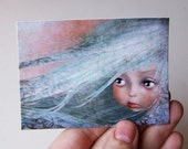 "ACEO/ATC Mini Fine Art Print ""Winter"" Artist Trading Card 2.5x3.5 - Lowbrow Art Print of Original Artwork by Jessica Grundy"